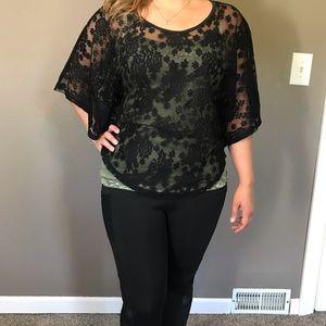 Black Lace Top Layer Blouse